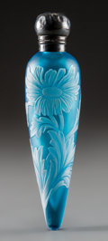Glass, Thomas Webb & Sons White Overlay Blue Glass Daisy Perfume Vial with Silver Mount. Circa 1885. L. 5-1/8 in.. ...