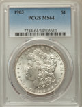 Morgan Dollars: , 1903 $1 MS64 PCGS. PCGS Population: (5594/4597). NGC Census:(5094/3086). CDN: $105 Whsle. Bid for problem-free NGC/PCGS MS...