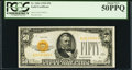 Small Size:Gold Certificates, Fr. 2404 $50 1928 Gold Certificate. PCGS About New 50PPQ.. ...