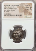 Ancients:Greek, Ancients: ETRURIA. Populonia. Ca. 3rd century BC. AR 20 asses (8.52gm). NGC Choice VF 4/5 - 4/5....