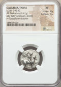 Ancients:Greek, Ancients: CALABRIA. Tarentum. Ca. 272-240 BC. AR stater or didrachm(6.41 gm). NGC XF 4/5 - 4/5....