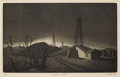 Texas:Early Texas Art - Regionalists, J. J. MCVICKER (1911-2004). Oklahoma Twilight. Aquatint onpaper. 9-3/4 x 16 inches (24.8 x 40.6 cm). Signed and dated l...