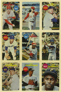 1968 Topps 3-D Baseball Uncut Sheet of 9.  Updated condition report: Please note that our cataloger