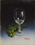 Texas:Early Texas Art - Impressionists, DALHART WINDBERG (b. 1933). Untitled Wine Glass and Green GrapesMiniature. Oil on artistboard. 1-1/4 x 1 inches (3.2 x 2.5 ...
