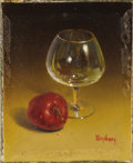 Texas:Early Texas Art - Impressionists, DALHART WINDBERG (b. 1933). Untitled Wine Glass and AppleMiniature. Oil on canvasboard. 1-1/2 x 1-1/4 inches (3.8 x 3.2cm)...
