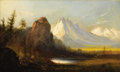 Fine Art - Painting, American:Antique  (Pre 1900), In the style of ALBERT BIERSTADT (Nineteenth Century). CathedralRock. Oil on canvas. 12 x 20 inches (30.5 x 50.8 cm). I...