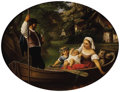 Fine Art - Painting, European:Antique  (Pre 1900), Monogrammist J.R. (Austrian, Nineteenth Century). Family in a Riverboat, 1876. Oil on canvas painted in oval format. 19 ...