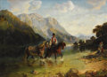 Fine Art - Painting, European:Antique  (Pre 1900), ANNA ZELLERIN (Swiss/German 19th Century). Family with Horses Fording a River, c. 1880. Oil on canvas. 23-1/4 x 31-1/2 i...