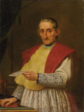 Paintings, ITALIAN OR FRENCH SCHOOL (Eighteenth Century). Portrait of Don Angiolo Antoni. Oil on canvas. 39 x 29 in.. The paper hel...