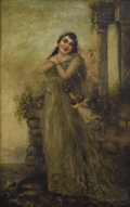 Paintings, AMERICAN (Nineteenth Century). Woman with Angels. Oil on canvas. 48 x 30 inches (121.9 x 76.2 cm). ...