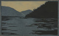 Texas:Early Texas Art - Drawings & Prints, FRANK REDLINGER (1909-1936). Untitled Mountain Lake, early1930s. Color linoleum block print on Japanese tissue. 4 x 6 i...