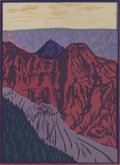 Prints, FRANK REDLINGER (1909-1936). Untitled Grand Canyon, early 1930s. Color linoleum block print on paper. 9 x 6-1/2 inches (...