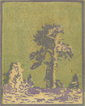 Prints, FRANK REDLINGER (1909-1936). Untitled Lone Pine, early 1930s. Color linoleum block print on Japanese tissue. 6-1/2 x 5-1...