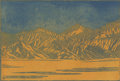 Texas:Early Texas Art - Drawings & Prints, FRANK REDLINGER (1909-1936). Funeral Range Death Valley,early 1930s. Color linoleum block print on Japanese tissue. 8-1...