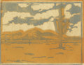 Texas:Early Texas Art - Drawings & Prints, FRANK REDLINGER (1909-1936). Camelback Mt., 1932. Colorlinoleum block print on Japanese tissue. 8-3/4 x 11 inches (22.2...
