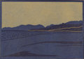 Texas:Early Texas Art - Drawings & Prints, FRANK REDLINGER (1909-1936). Untitled Desert Scene, early1930s. Color linoleum block print on Japanese tissue. 4 x 5-3/...