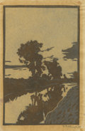 Texas:Early Texas Art - Drawings & Prints, FRANK REDLINGER (1909-1936). Untitled Reflections in theRiver, 1932. Color linoleum block print on Japanese tissue.5-1...