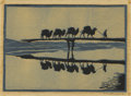 Texas:Early Texas Art - Drawings & Prints, FRANK REDLINGER (1909-1936). Untitled Desert Caravan, 1932.Color linoleum block print on Japanese tissue. 4 x 6 inches ...