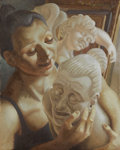 Fine Art - Painting, European:Contemporary   (1950 to present)  , EDWARD POVEY (Welsh b.1951). The Singing Russian Woman, 1990. Oil on canvas. 20 x 16 inches (50.8 x 40.6 cm). Signed and...