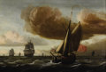 Fine Art - Painting, European:Antique  (Pre 1900), Attributed to LUDOLF BAKHUYZEN (Dutch 1631-1708). Ships at Sea. Oil on beveled panel. 14-1/8 x 20-1/4 inches (35.9 x 51....