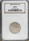 Coins of Hawaii: , 1883 25C Hawaii Quarter XF40 NGC. NGC Census: (5/666). PCGSPopulation (19/1195). Mintage: 500,000. (#10987)...