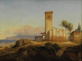 Fine Art - Painting, European:Antique  (Pre 1900), FRANÇOIS ANTOINE BOSSEUT (Belgian 1800-1889). Adobe by theSea, 1874. Oil on paper laid on canvas. 9-1/2 x 13 inches(24...