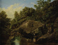 Fine Art - Painting, European:Antique  (Pre 1900), THOMAS CRESWICK (British 1811-1869). A Family by the RiverBed. Oil on canvas. 19-1/4 x 23 inches (48.9 x 58.4 cm).Sign...