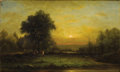Fine Art - Painting, American:Antique  (Pre 1900), CHARLES WILSON KNAPP (American 1823-1900). Sunset - Little MiamiValley. Oil on canvas. 12 x 20 inches (30.5 x 50.8 cm)...