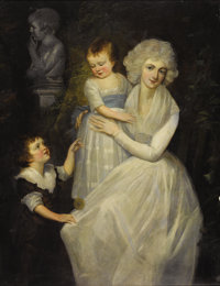 After THOMAS GAINSBOROUGH (British 1727-1788) Portrait of Lady with her Children Oil on canvas 56