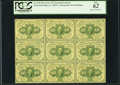 Fractional Currency:First Issue, Fr. 1240 10¢ First Issue Uncut Block of Nine Notes. PCGS New 62.. ...