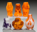 Art Glass:Other , Six Weis Overlay Glass Miniature Cabinet Vases. Early 20th century.Each with cameo Weis. Ht. 1-3/4 in.. ... (Total: 6 Items)
