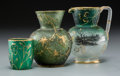 Art Glass:Daum, Three Daum Partial Gilt Green Glass Miniature Vessels. Circa 1900.Gilded Daum, France. Ht. 3-3/8 in. (tallest). ... (Total: 3Items)