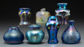 Art Glass:Other , Seven Lundberg and Mark Peiser Iridescent Glass Cabinet Vases.Post-1970. Various engraved signatures. Ht. 3-5/8 in. (talles...(Total: 7 Items)
