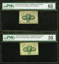 Fractional Currency:First Issue, Fr. 1240 10¢ First Issue PMG Choice Uncirculated 63. Fr. 1241 10¢ First Issue PMG About Uncirculated 55.. ... (Total: 2 notes)