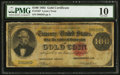 Large Size:Gold Certificates, Fr. 1207 $100 1882 Gold Certificate PMG Very Good 10.. ...