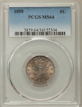 Liberty Nickels: , 1898 5C MS64 PCGS. PCGS Population: (221/145). NGC Census: (143/102). CDN: $300 Whsle. Bid for problem-free NGC/PCGS MS64. ...
