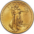 High Relief Double Eagles, 1907 $20 High Relief, Flat Rim, MS65 PCGS....