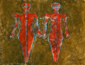Works on Paper, Rufino Tamayo (1899-1991). Dos Figuras, 1976. Mixografia in colors on Arches paper. 22-3/8 x 30 inches (56.8 x 76.2 cm) ...