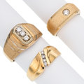 Estate Jewelry:Rings, Gentleman's Diamond, Gold Rings. ... (Total: 3 Items)