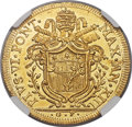 Italy:Papal States, Italy: Papal States. Pius VI gold 5 Zecchini 1787-GP Anno XIII MS62 Prooflike NGC,...