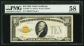Small Size:Gold Certificates, Fr. 2400* $10 1928 Gold Certificate. PMG Choice About Uncirculated 58.. ...