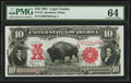 Large Size:Legal Tender Notes, Fr. 122 $10 1901 Legal Tender PMG Choice Uncirculated 64.. ...