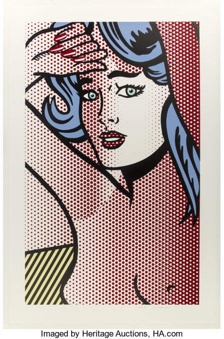 Roy Lichtenstein (1923-1997) Nude with Blue Hair, from Nudes, 1994 Relief in colors on Rives BFK paper 51-3/16 x ...