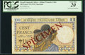 World Currency, French Equatorial Africa Afrique Francaise Libre 100 Francs ND (1941) Pick 8s Specimen.. ...