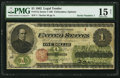 Large Size:Legal Tender Notes, Serial Number 1 Fr. 17a $1 1862 Legal Tender PMG Choice Fine 15Net.. ...