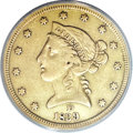 Liberty Half Eagles, 1839-D $5 --Cleaned--ANACS. XF40 Details....