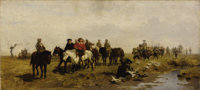 JULIUS NOERR (German 1827-1897) Breaking for a meal Oil on panel 10-3/8 x 22-7/8 inches (26.3 x 5