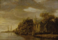 Fine Art - Painting, European:Antique  (Pre 1900), Follower of JAN JOSEFSZ VAN GOYEN (Dutch 1596-1656). RiverLandscape. Oil on beveled oak panel. 15-3/4 x 22-1/4 inches(...