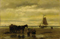 JOHANNES HERMANUS BAREND KOEKKOEK (Dutch 1840-1912) Seaweed Gatherers, 1809 Oil on panel 16 x 24-