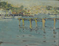 Fine Art - Painting, American:Modern  (1900 1949)  , JANE PETERSON (American 1876-1965). Old Pier Gloucester. Oilon artist board. 10-1/2 x 13-1/2 inches (26.7 x 34.3 cm). T...